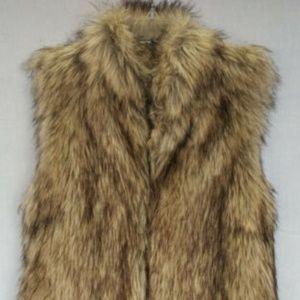 Gianni Bini Faux Fur Tan Lined Pocket Vest XS
